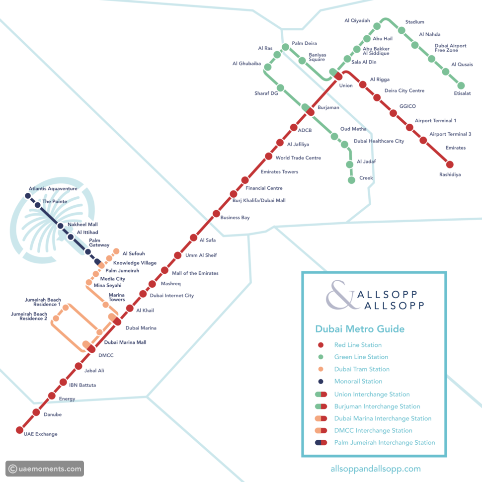 The following is a detailed metro station map for Dubai showing all the main lines, image is copyrighted to allsoppandallsopp.com