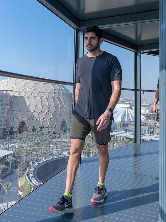 Sheikh Hamdan Tours Expo 2020 Site on Bicycle