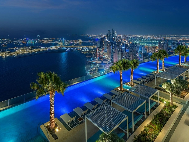 Dubai Record Breaking Swimming Pool Night Picture